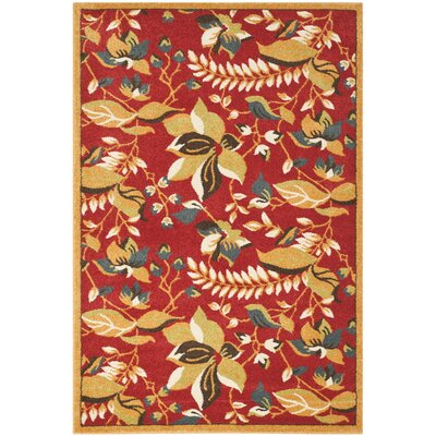 Newport Red/Gold Floral Area Rug Rug Size: 51 x 76