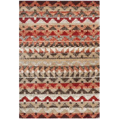 Tahoe Beige / Terracotta Geometric Rug Rug Size: Rectangle 4 x 6