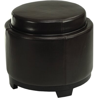 Round Leather Cocktail Ottoman Upholstery: Brown