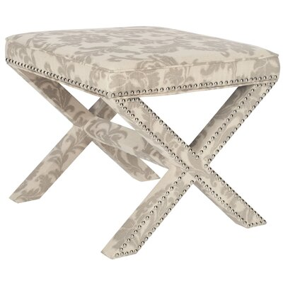 Pamela Upholstered Ottoman Upholstery: Taupe and Beige Print