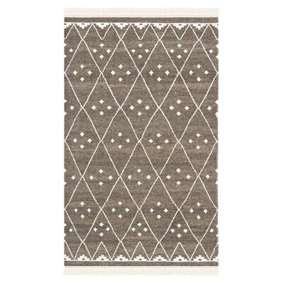 Natural Kilim Hand-Woven/Flat-Woven Brown/Ivory Area Rug Rug Size: Rectangle 10 x 14
