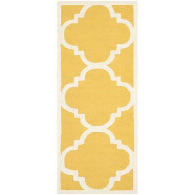 Cambridge Gold & Ivory Area Rug Rug Size: Runner 2'6