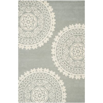 Harger Hand-Tufted Wool Gray/Ivory Area Rug Rug Size: Rectangle 89 x 12