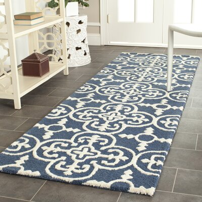 Byron Navy Blue /Ivory Tufted Wool Area Rug Rug Size: Runner 26 x 6