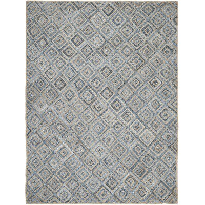 Cromwell Hand-Woven Natural/Blue Area Rug Rug Size: 8' x 10'