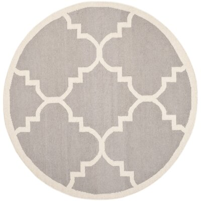 Dhurries Dark Grey/Ivory Area Rug Rug Size: Round 6