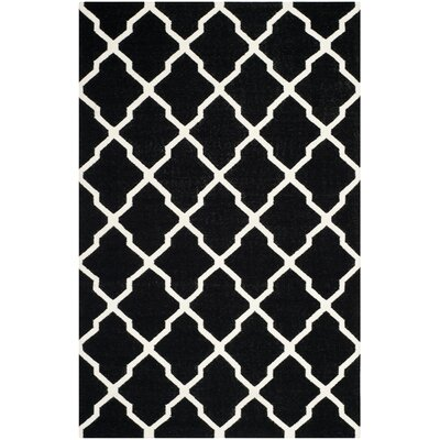 Dhurries Black/Ivory Area Rug Rug Size: 5' x 8'