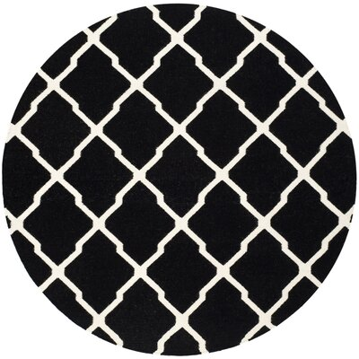 Dhurries Black/Ivory Area Rug Rug Size: Round 6'