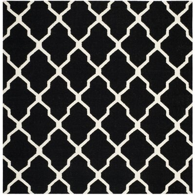 Dhurries Black/Ivory Area Rug Rug Size: Square 6