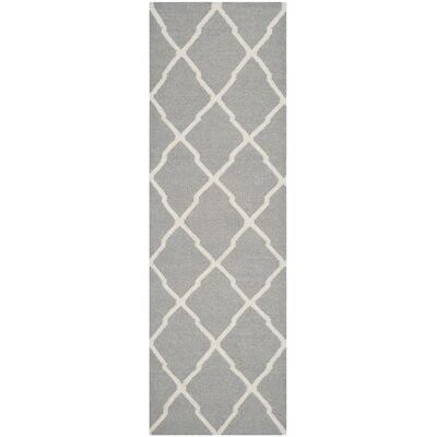 Dhurries Wool Gray/Ivory Area Rug Rug Size: Runner 26 x 8