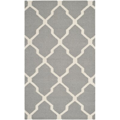 Dhurries Wool Gray/Ivory Area Rug Rug Size: Rectangle 6 x 9
