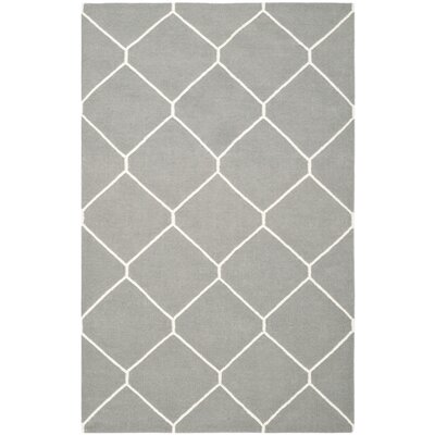 Dhurries Grey/Ivory Area Rug Rug Size: Rectangle 5 x 8