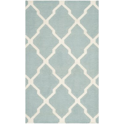 Dhurries Wool Light Blue/Ivory Area Rug Rug Size: Rectangle 5 x 8
