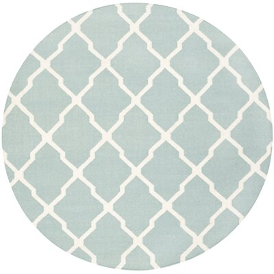 Dhurries Wool Light Blue/Ivory Area Rug Rug Size: Round 6