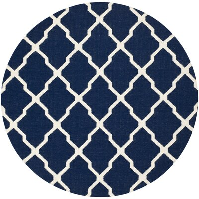 Dhurries Navy/Ivory Area Rug Rug Size: Round 6