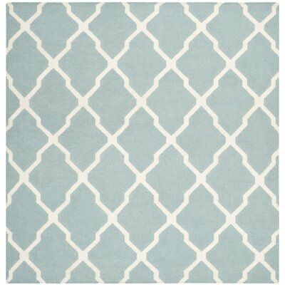 Dhurries Wool Light Blue/Ivory Area Rug Rug Size: Square 6