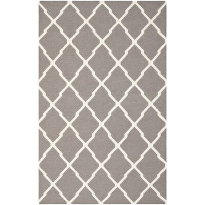 Dhurries Dark Grey/Ivory Area Rug Rug Size: 5' x 8'