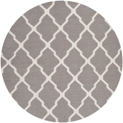 Dhurries Dark Grey/Ivory Area Rug Rug Size: Round 6'