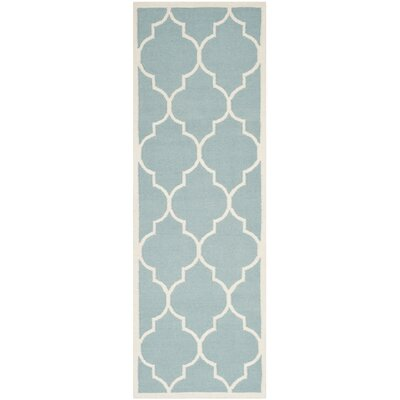 Dhurries Hand-Woven Wool Light Blue/Ivory Area Rug Rug Size: Runner 26 x 10