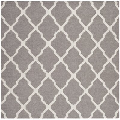 Dhurries Dark Grey/Ivory Area Rug Rug Size: Square 6