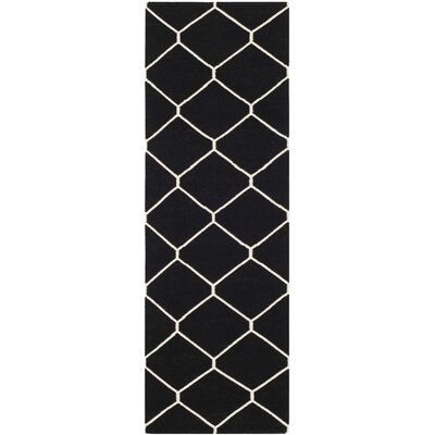Dhurries Black/Ivory Area Rug Rug Size: Runner 2'6