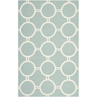 Dhurries Light Blue/Ivory Area Rug Rug Size: 5 x 8