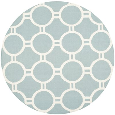 Dhurries Light Blue/Ivory Area Rug Rug Size: Round 6