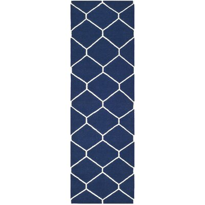 Dhurries Navy/Ivory Area Rug Rug Size: Runner 26 x 8