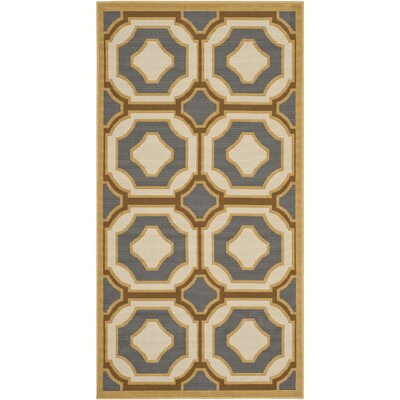 Hampton Dark Grey/Ivory Outdoor Area Rug Rug Size: Rectangle 27 x 5