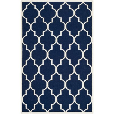 Dhurries Navy/Ivory Area Rug Rug Size: Rectangle 5 x 8