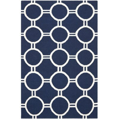Dhurries Navy/Ivory Area Rug Rug Size: Rectangle 3 x 5