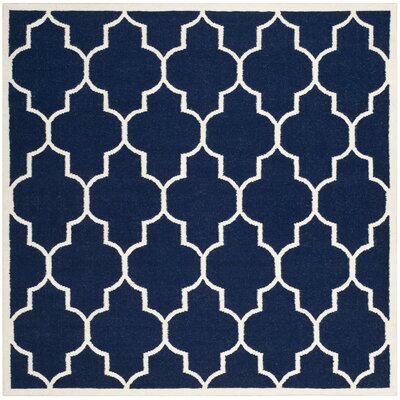 Dhurries Navy/Ivory Area Rug Rug Size: Square 6'
