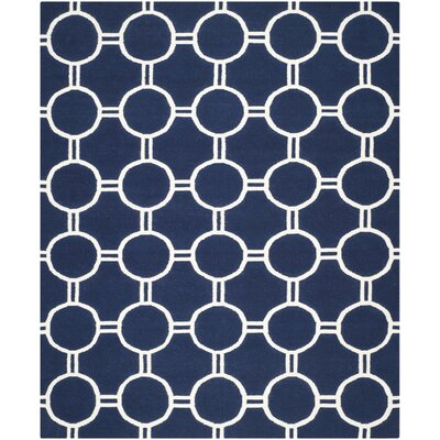 Dhurries Navy/Ivory Area Rug Rug Size: 4 x 6
