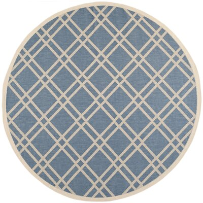 Jefferson Place Blue/Beige Outdoor Area Rug Rug Size: Round 710