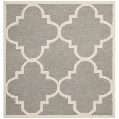 Dhurries Grey/Ivory Area Rug Rug Size: Square 6