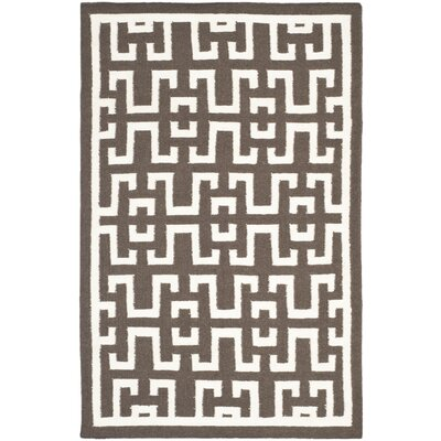 Dhurries Wool Brown/Ivory Area Rug Rug Size: Rectangle 4 x 6