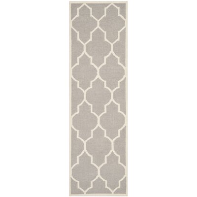 Dhurries Dark Grey/Ivory Area Rug Rug Size: Runner 26 x 8