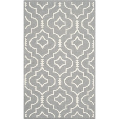 Crawford Hand-Woven Gray/Ivory Area Rug Rug Size: Rectangle 6 x 9