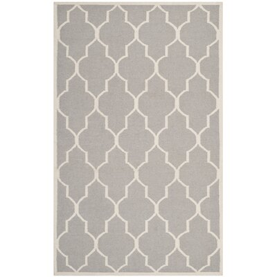Dhurries Dark Grey/Ivory Area Rug Rug Size: 5 x 8