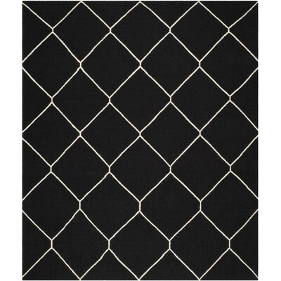 Dhurries Black/Ivory Area Rug Rug Size: Rectangle 8 x 10