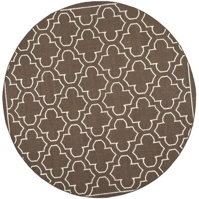 Dhurries Brown Area Rug Rug Size: Round 7'