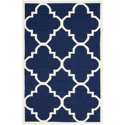 Dhurries Hand-Woven Wool Navy/Ivory Area Rug Rug Size: Rectangle 5 x 8