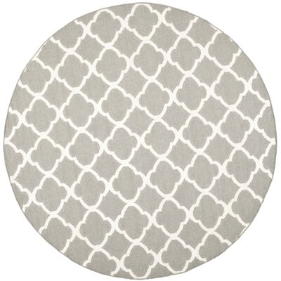 Dhurries Light Grey & Ivory Reversible Area Rug Rug Size: Round 7