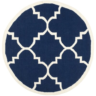 Dhurries Hand-Woven Wool Navy/Ivory Area Rug Rug Size: Round 6