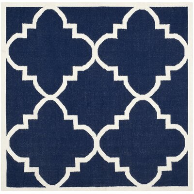 Dhurries Navy/Ivory Area Rug Rug Size: Square 6