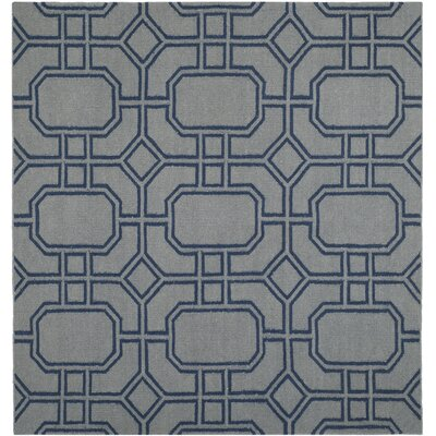 Dhurries Grey/Dark Blue Area Rug Rug Size: Square 6'