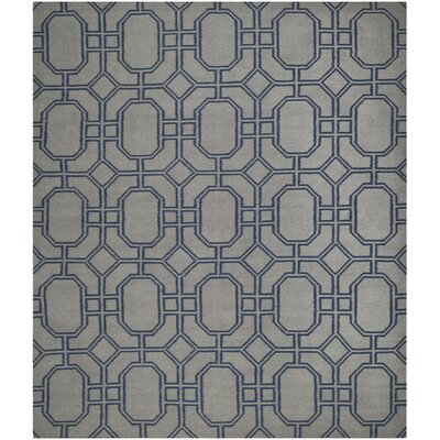Dhurries Grey/Dark Blue Area Rug Rug Size: 8 x 10
