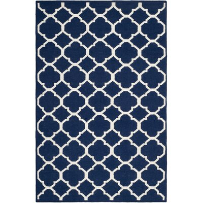 Dhurries Wool Navy/Ivory Area Rug Rug Size: Rectangle 26 x 4
