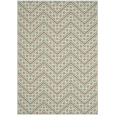 Hampton Light Blue/Ivory Outdoor Area Rug Rug Size: 67 x 96