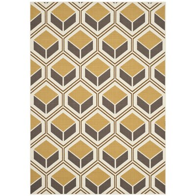 Hampton Ivory/Camel Indoor/Outdoor Area Rug Rug Size: Rectangle 51 x 77